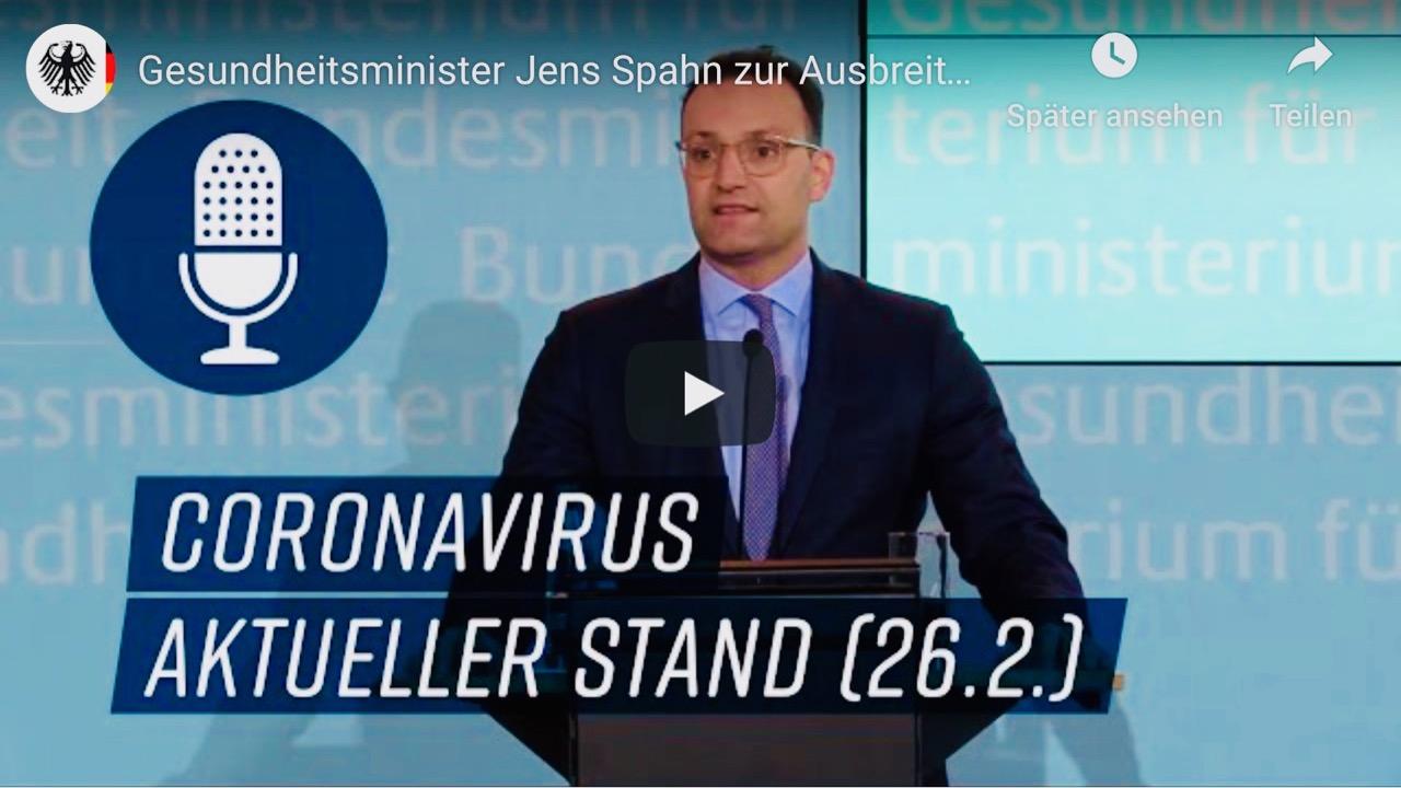 Bundesgesundheitsminister Spahn und das Coronavirus